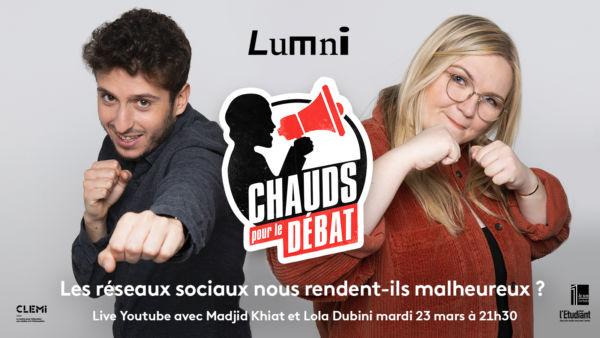 «Chauds pour le débat», la nouvelle émission live sur Youtube Lumni avec France Télévisions
